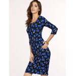cheap Chic Women's Square Neck 3/4 Sleeve Blue Flower Print Dress