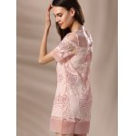Trendy Round Neck Voile Spliced Embroidery Beaded Women's Dress deal