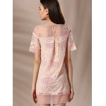 Trendy Round Neck Voile Spliced Embroidery Beaded Women's Dress for sale