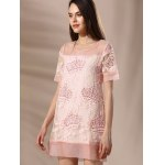 cheap Trendy Round Neck Voile Spliced Embroidery Beaded Women's Dress