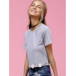 Stylish Jewel Neck Floral Applique Crop Top For Women deal