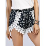 Lace Inset Floral Print Shorts