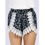 cheap Lace Inset Floral Print Shorts