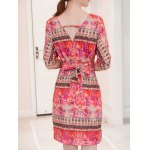 Fashionable V-Neck Ornate Printed Slimming Women's Dress for sale