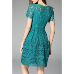 cheap Short Sleeve Fit and Flare Lace Dress