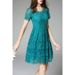 Short Sleeve Fit and Flare Lace Dress deal