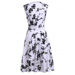Retro Floral Sweetheart Neck Bowknot Embellished Women's Dress photo