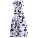 best Retro Floral Sweetheart Neck Bowknot Embellished Women's Dress