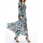 Selva Style Plunging Neck Tie Belt Plant Pattern Dress deal