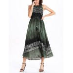 cheap Frilled Jewel Neck Printed Tie Belt Dress
