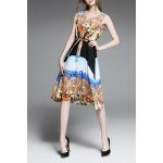Tie Front Print Slimming Dress