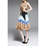 Tie Front Print Slimming Dress for sale