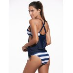 Plunging Neck Striped Padded Tankini Set for sale