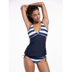 Plunging Neck Striped Padded Tankini Set deal