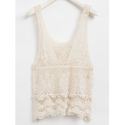 Solid Color Hollow Out Design Lace Tank Top