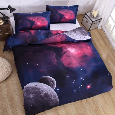 Chic 3D Planet Pattern Duvet Cover 4 PCS Bedding ( Without Comforter )Bedding<br>Chic 3D Planet Pattern Duvet Cover 4 PCS Bedding ( Without Comforter )<br><br>Bedding Sets Type: Duvet Cover Set(without Comforter)<br>Crafts: Reactive Print<br>Duvet Cover Size: W79*L90(W200*L230cm)<br>Flat Sheet Size: W91*L91(W230*L230cm)<br>Material: Polyester<br>Package Contents: 1 x Duvet Cover 1 x Flat Sheet 2 x Shams<br>Patterns : 3D<br>Set Quantity: 4 pieces<br>Std. Sham Size: W19*L29(W48*L74cm)<br>Weave Type: Plain<br>Weight: 1.603kg