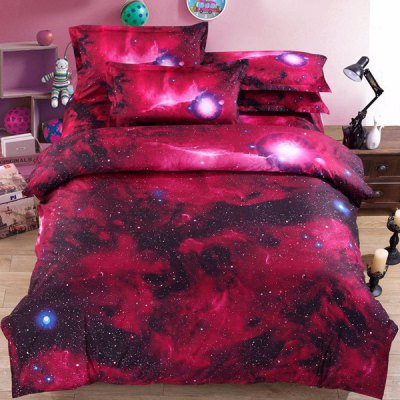 3D Red Night Sky Pattern Duvet Cover 4 PCS Bedding ( Without Comforter )