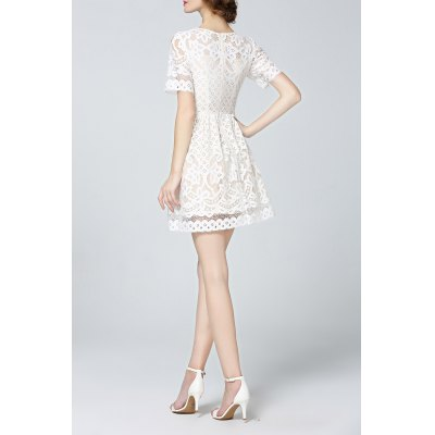 Solid Color Lace Mini DressDesigner Dresses<br>Solid Color Lace Mini Dress<br><br>Style: Casual<br>Occasion: Bridal,Causal,Cocktail &amp; Party,Day<br>Material: Cotton,Polyester<br>Composition: Outer Composition:70% Cotton,30% Polyester&lt;br&gt;Lining Composition:100% Polyester<br>Silhouette: A-Line<br>Dresses Length: Mini<br>Neckline: Round Collar<br>Sleeve Length: Short Sleeves<br>Waist: Empire<br>Pattern Type: Solid<br>With Belt: No<br>Season: Summer<br>Weight: 0.390kg<br>Package Contents: 1 x Dress