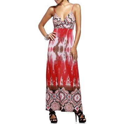 Plunging Neck High Waisted Printed Maxi Dress