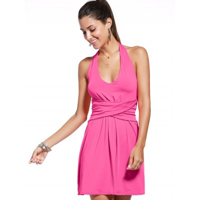 Sleeveless Twist-Front Backless Solid Color Women's Dress