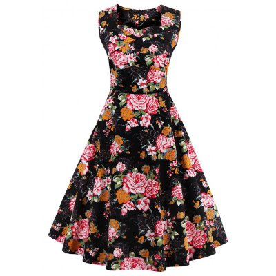 Sweetheart Neck Sleeveless Floral Print Dress