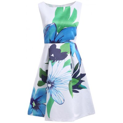 Women's Jewel Neck Sleeveless Floral Print Pleated Dress