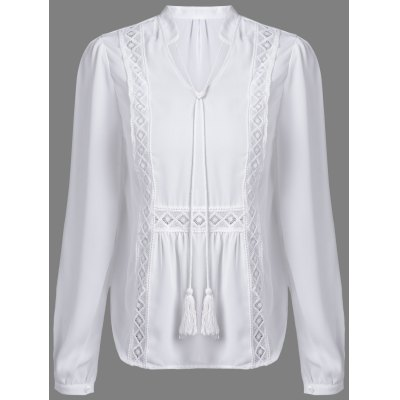 V-Neck Long Sleeve Hollow Out Women's White Blouse