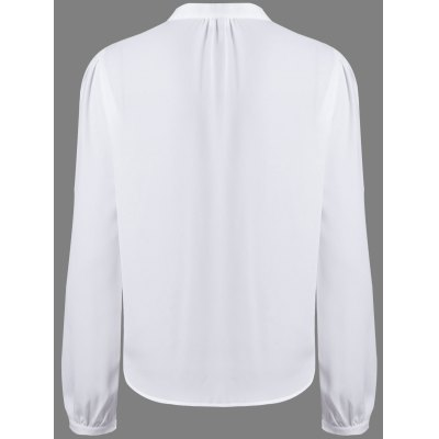 Alluring V-Neck Long Sleeve Hollow Out Women's White Blouse