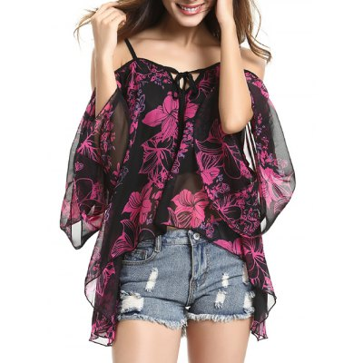 Spaghetti Strap Off Shoulder Bell Sleeve Floral Printed Blouse