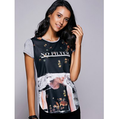 Casual Short Sleeves Print High Low T-Shirt For Women
