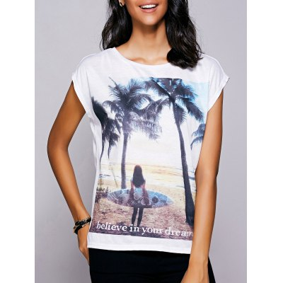 Short Sleeves Print Slit T-Shirt For Women