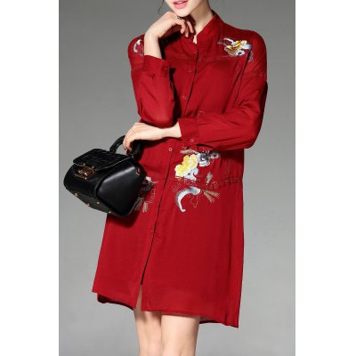 Stand Neck Long Sleeve Embroidery Shirt Dress