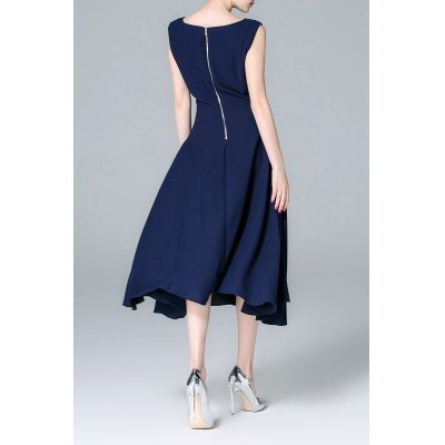 Back Zippered Solid Color DressDesigner Dresses<br>Back Zippered Solid Color Dress<br><br>Style: Swing<br>Occasion: Cocktail &amp; Party<br>Material: Cotton,Polyester<br>Composition: 70%Cotton,30%Polyester<br>Dresses Length: Mid-Calf<br>Neckline: Slash Neck<br>Sleeve Length: Sleeveless<br>Pattern Type: Solid<br>With Belt: No<br>Season: Summer<br>Weight: 0.620kg<br>Package Contents: 1 x Dress