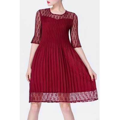 Solid Color Folded Lace Spliced Dress