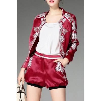 Stand Neck Floral Embroidery Jacket and Shorts Twinset