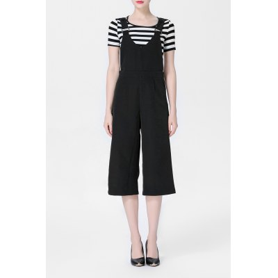 Fitting Stripe T-Shirt and Suapender Wide Leg Pants Suit