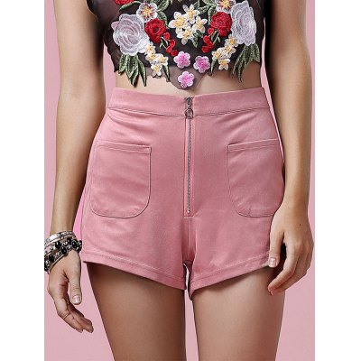 Stylish Zipper Fly Solid Color Pocket Design Women's Shorts