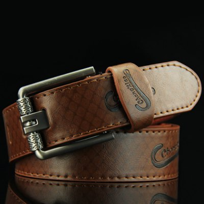 Letters Embossed Pin Buckle Mesh Plaid Pattern Wide Belt For Men