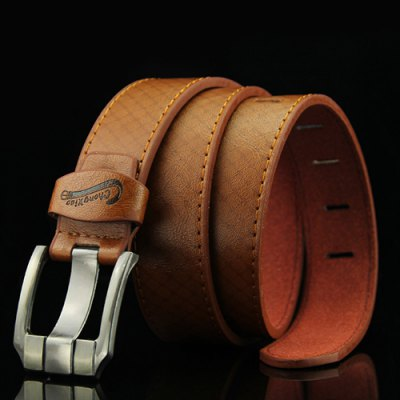 Stylish Letters Embossed Pin Buckle Mesh Plaid Pattern Perforated Wide Belt For Men