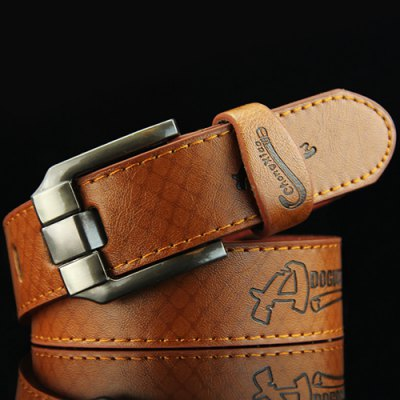 Letters Embossed Pin Buckle Mesh Plaid Pattern Perforated Wide Belt For Men