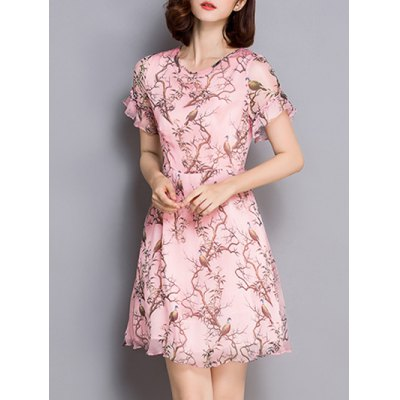Sweet Style Bird Print Flounced Women's Dress от GearBest.com INT