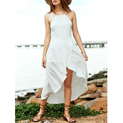 Simple Spaghetti Straps Tulip Hem High Low Dress For Women