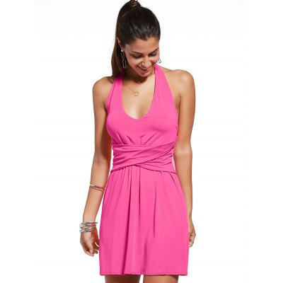 Stylish Sleeveless Twist-Front Backless Solid Color Women's Dress
