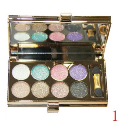Stylish 8 Colours Sparkly Diamond Earth Tone Eye Shadow Palette with Mirror and Brush