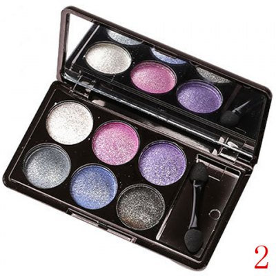 6 Colours Earth Tone Sparkly Diamond Eye Shadow Palette with Mirror and Brush