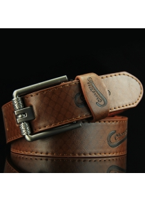 Stylish Letters Embossed Pin Buckle Mesh Plaid Pattern Wide Belt For Men