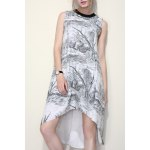 High Low Print A Line Dress