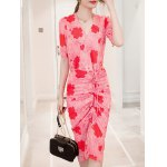 Chic V-Neck Floral Print Twist-Front Furcal Slimming Women's Dress