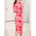 Chic V-Neck Floral Print Twist-Front Furcal Slimming Women's Dress deal