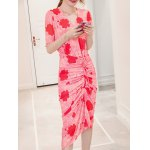cheap Chic V-Neck Floral Print Twist-Front Furcal Slimming Women's Dress